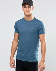 Asos T Shirt With Crew Neck In Blue Marl Majolica Blue Marl