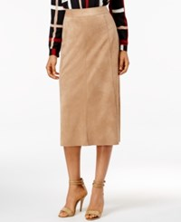Alfani Faux Suede Midi Pencil Skirt Only At Macy's Modern Camel