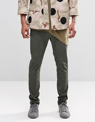 Asos Skinny Chinos With Oil Wash In Green Rosin