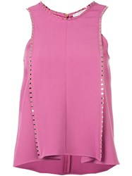 Versace Collection Ruffled Sleeveless Blouse Pink And Purple