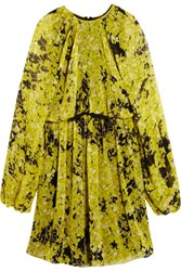 Giambattista Valli Floral Print Silk Chiffon Mini Dress Yellow