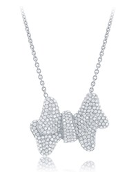 Diana M. Jewels 18K White Gold Pave Diamond Bow Pendant Necklace Women's