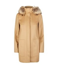 Hugo Boss Fur Trim Wool Coat Beige
