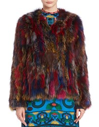 Anna Sui V Neck Fox Fur Coat Bark Multi