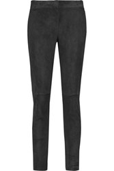 Brunello Cucinelli Suede Skinny Pants Dark Gray