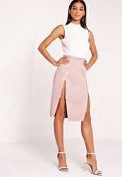 Missguided Faux Suede Double Zip Through Midi Skirt Lilac Purple