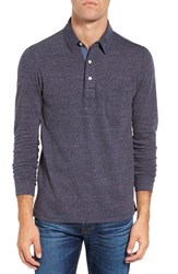Faherty Men's Heathered Jersey Polo Burgundy Navy Stripe