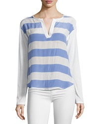 Ella Moss Millie Striped Split Neck Tee Periwinkle Ivory