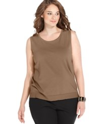 August Silk Plus Size Sleeveless Shell Camel Toffee