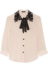 Marc Jacobs Guipure Lace Trimmed Silk Crepe De Chine Shirt Lilac