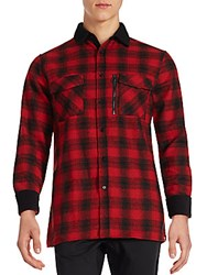 Sovereign Code Mccloud Flannel Button Down Shirt Red Plaid