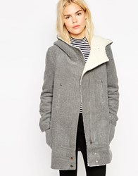 See U Soon Hooded Coat With Borg Lining Lightgrey