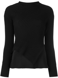 3.1 Phillip Lim Draped Rib Knit Jumper Black