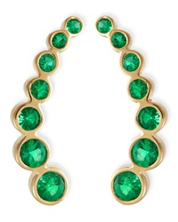18K Yellow Gold And Emerald Climber Earrings Rina Limor