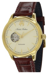 Brooks Brothers 'Core Open Heart' Leather Strap Watch 43Mm Brown Cream Gold