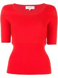 Carven Open Knit Shortsleeved Top Red