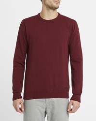 Iriedaily Mottled Burgundy Irie Patch Knit Round Neck Sweater