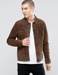 New Look Suede Western Jacket With Collar In Brown Brown