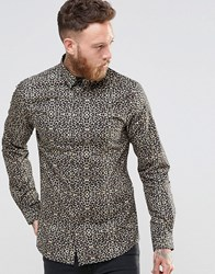 Noose And Monkey Skinny Shirt In Leopard Print Gold