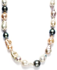 Macy's Pearl Necklace Sterling Silver Cultured Tahitian And Multicolor Freshwater Pearl Baroque Necklace 9 11Mm