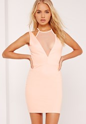 Missguided Mesh Insert Plunge Bodycon Dress Nude