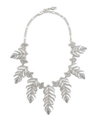 Rhinestone Feather Statement Necklace Silver Crystal Women's Kenneth Jay Lane