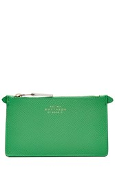Smythson Leather Zip Pouch Keyring Green