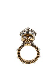 Alexander Mcqueen Queen Skull Crystal And Pearl Embellished Ring Gold