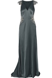 Catherine Deane Claire Embellished Satin Gown Green