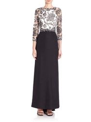 Tadashi Shoji Three Quarter Sleeve Lace And Crepe Gown