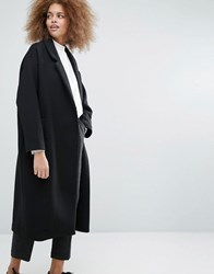 Monki Longline Quilted Coat Black