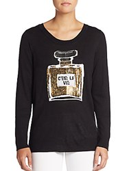 Saks Fifth Avenue Red Sequin Perfume Bottle Sweater Black