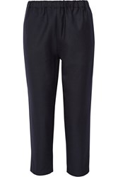 Marni Cropped Wool Track Pants Navy
