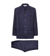 Derek Rose Otis Motif Silk Pyjamas Set Male Navy