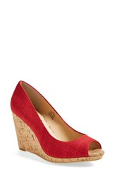 Women's Caslon 'Devin' Peep Toe Wedge Red