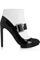 Alexander Mcqueen Two Tone Patent Leather Ankle Boots Black
