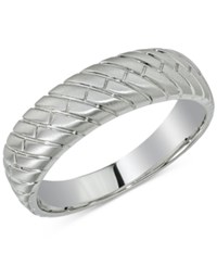 Esquire Men's Jewelry Herringbone Band In 14K White Gold First At Macy's