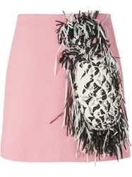 Msgm Fringed Pineapple Skirt Pink And Purple