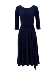 Wallis Crepe Fit And Flare Dress Navy