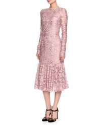Dolce And Gabbana Long Sleeve Lace Flounce Hem Dress Light Pink