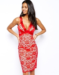 Hybrid Pencil Lace Dress With Plunge Neck Red