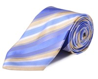 Double Two Stripe Tie Blue