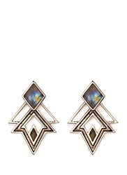Lulu Frost 'Trocadero' Mix Gemstone Geometric Cut Out Earrings Metallic Multi Colour