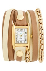 La Mer Leather And Chain Wrap Watch 19Mm Sand Stone