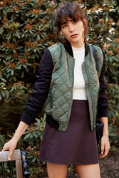 Silence And Noise Silence Noise Quilted Bomber Jacket Olive