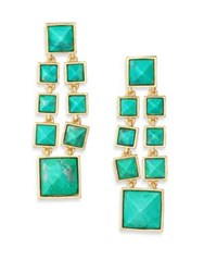 Stephanie Kantis Cascade Green Turquoise Howlite And 24K Yellow Gold Chandelier Earrings