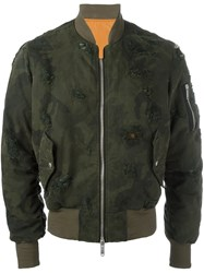 Unravel Camouflage Print Bomber Jacket Green