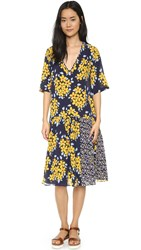 Suno V Neck Dress Floral Navy