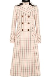 Miu Miu Guipure Lace Trimmed Checked Wool Coat Cream
