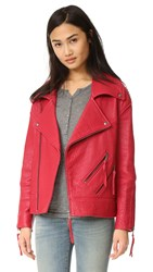 Rebecca Minkoff Brutus Leather Jacket Cherry Bomb